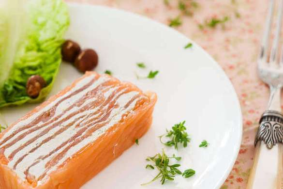 Zalm terrine met anchovis boter