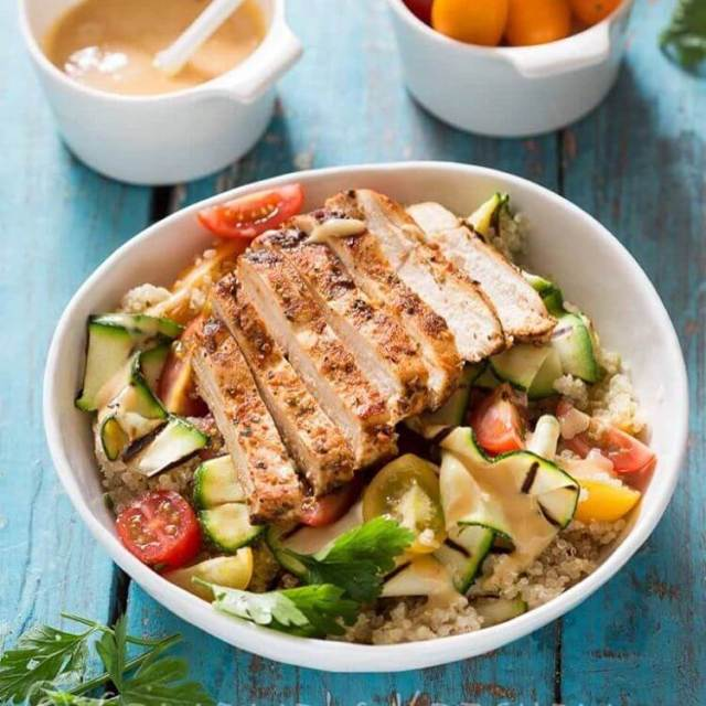 Summer salad with quinoa and grilled courgette food foodie foodbloggerhellip