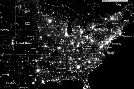 map of light pollution in the united states from the