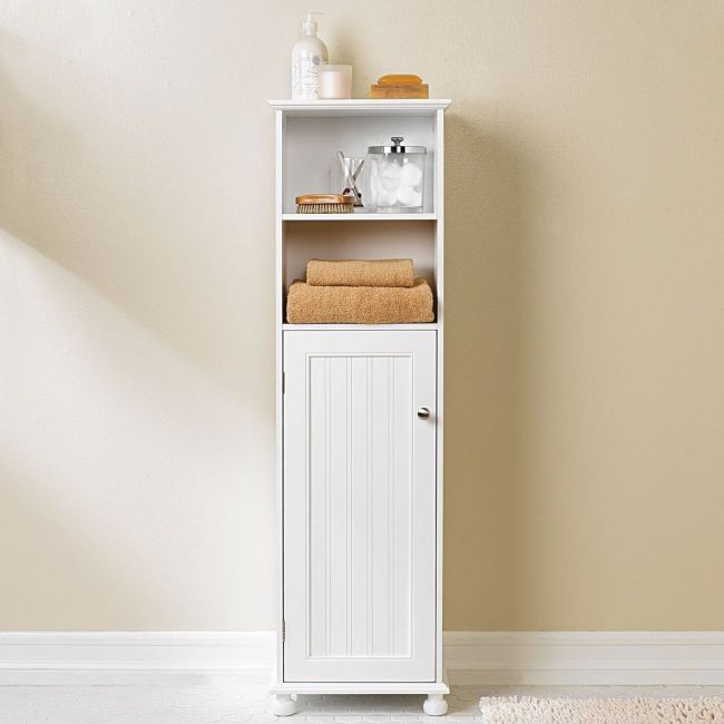 Bathroom-Storage-Cabinets-Idea-With-White-Furniture-Color-Ideas-For-Bathroom-Design-With-Two-Rack-Single-Door-As-Inspiring-Furniture-Bathroom