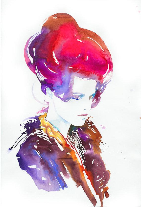 female portrati watercolor