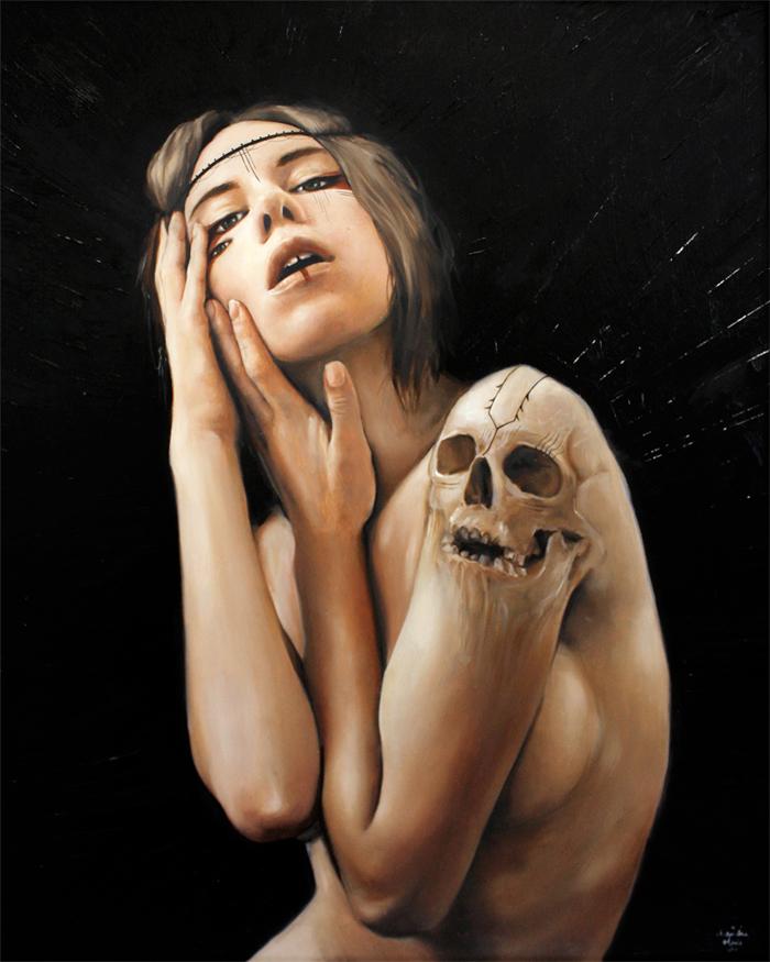 surreal skull female portrait