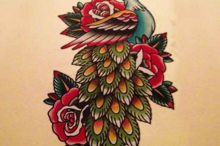 old school tattoos designs of pea bird and rose flower