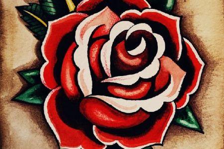 old school tattoos designs of rose flowers