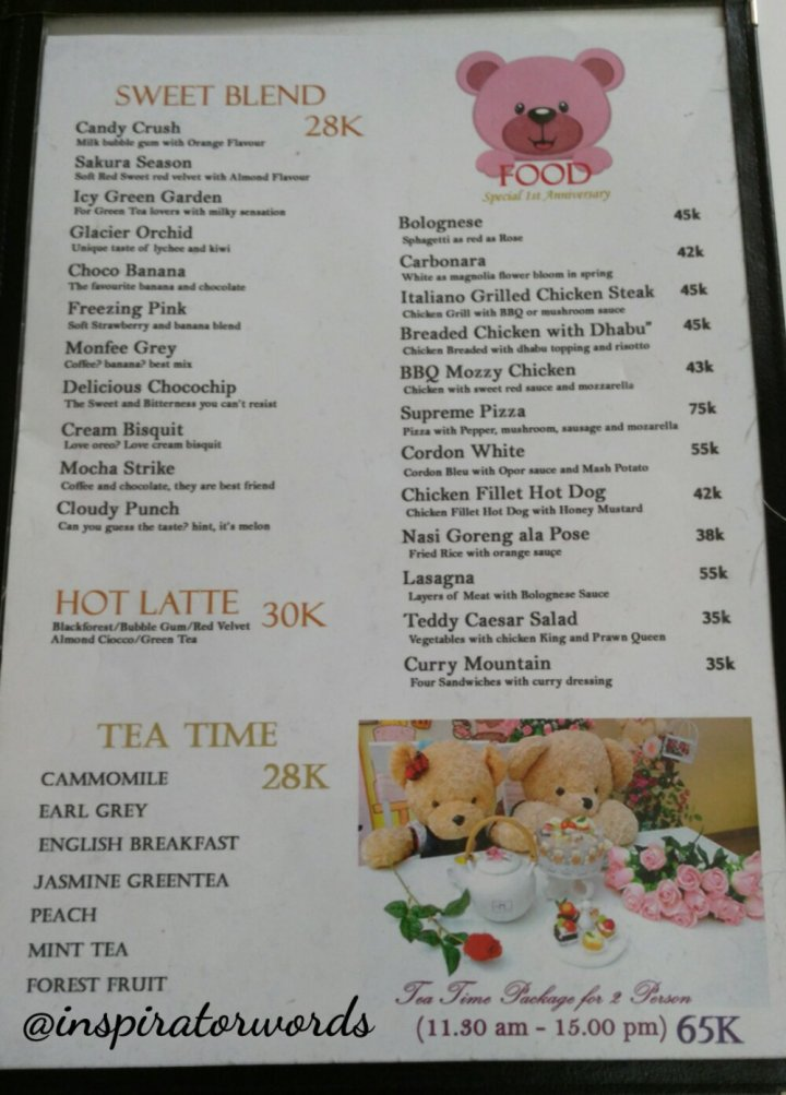 menu one pose cafe surabaya