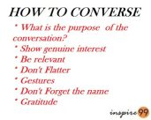 HOW TO CONVERSE