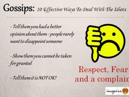 scare rumor monger, threaten rumors, threaten gossips, prevent gossips.