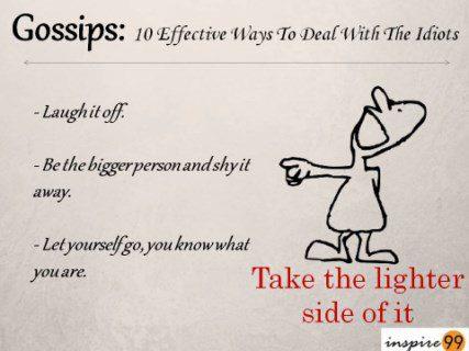 prevent gossips, laugh at rumors, laugh at gossips, sense of humor and gossips