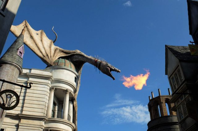 Ever 10 minutes the dragon breathes fire!