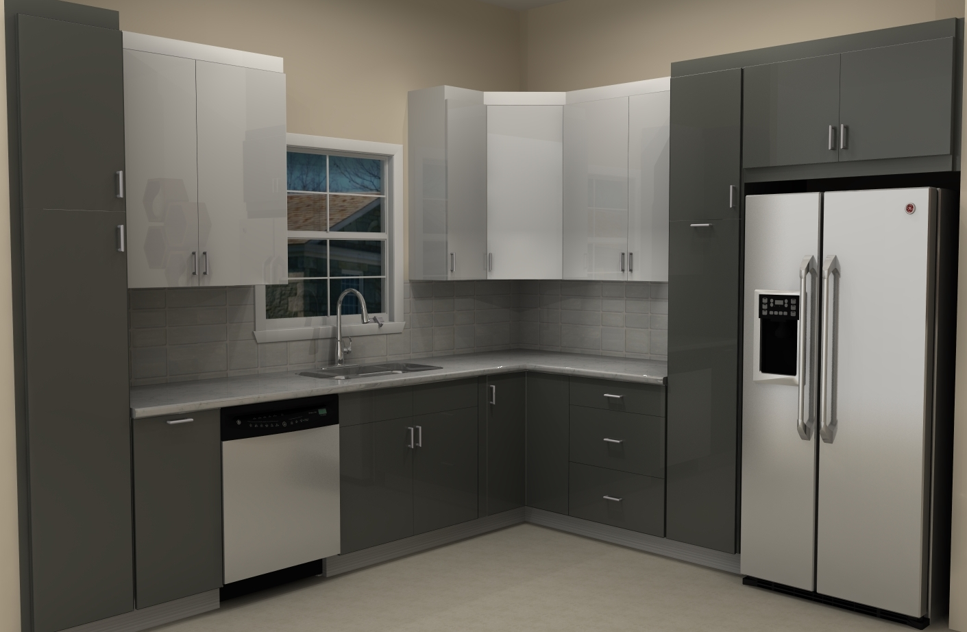 high gloss abstrakt doors for an ikea kitchen remodel ikea kitchen remodel The fridge is now closer to the sink with a narrow pull out pantry for