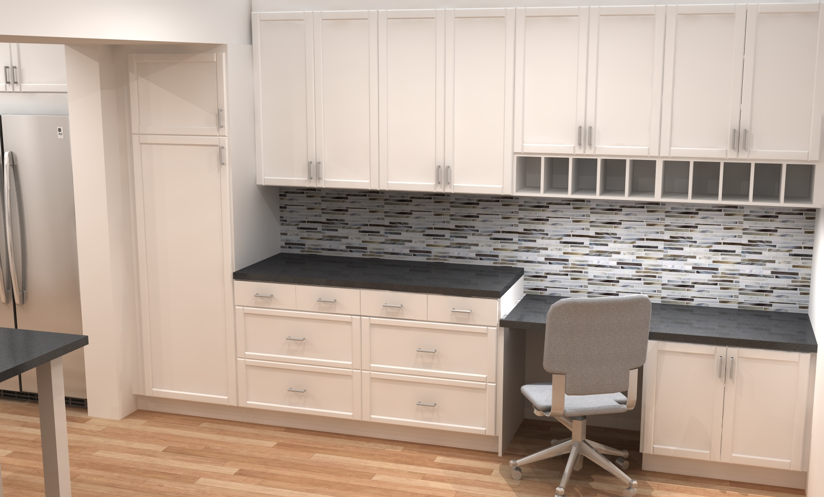small kitchen remodel with ikea cabinets kitchen cabinets ikea Desk area in white modern ADEL shaker IKEA kitchen