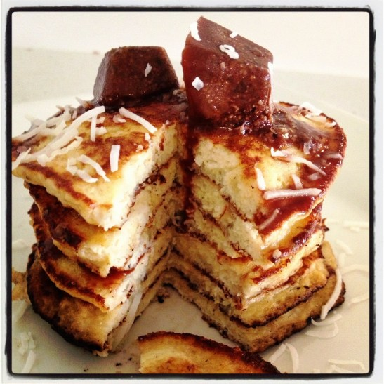 Banana nut pancakes with coconut and chocolate