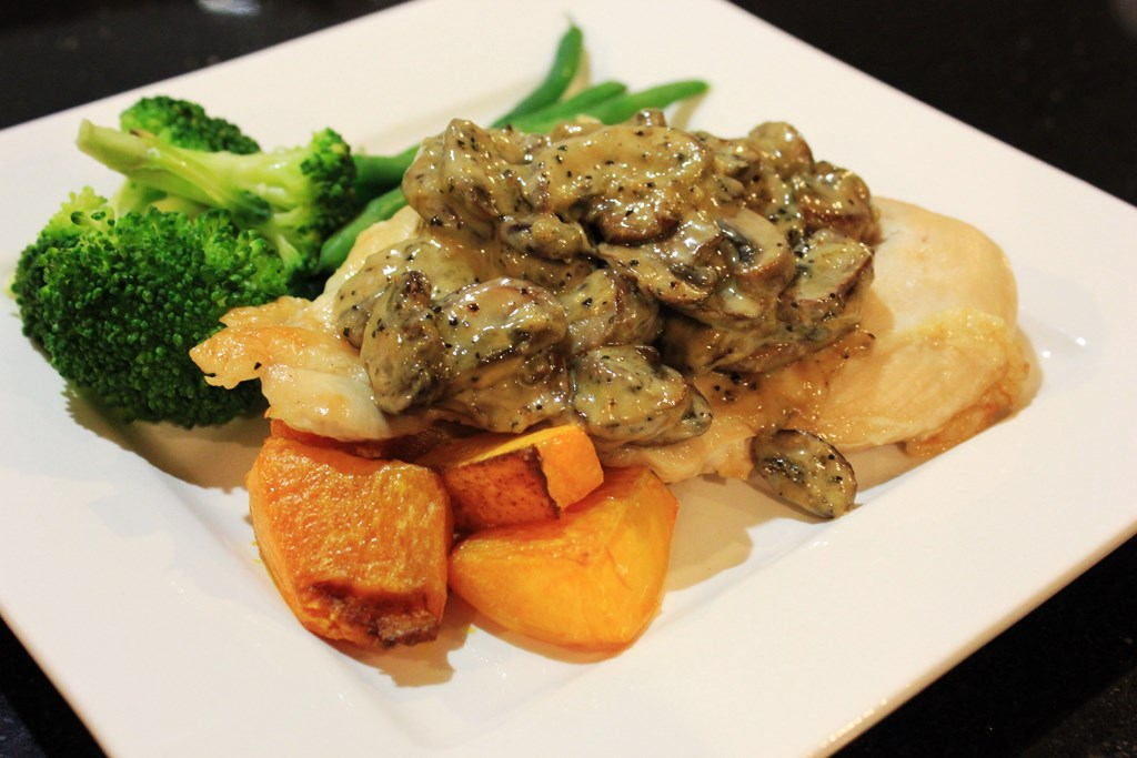 Baked chicken breast with creamy mushroom sauce