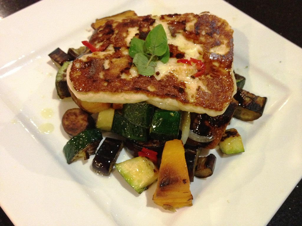 Haloumi with roast pumpkin, eggplant, zucchini and chilli olive oil