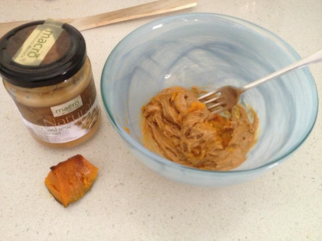 Raw cashew nut butter and roast pumpkin