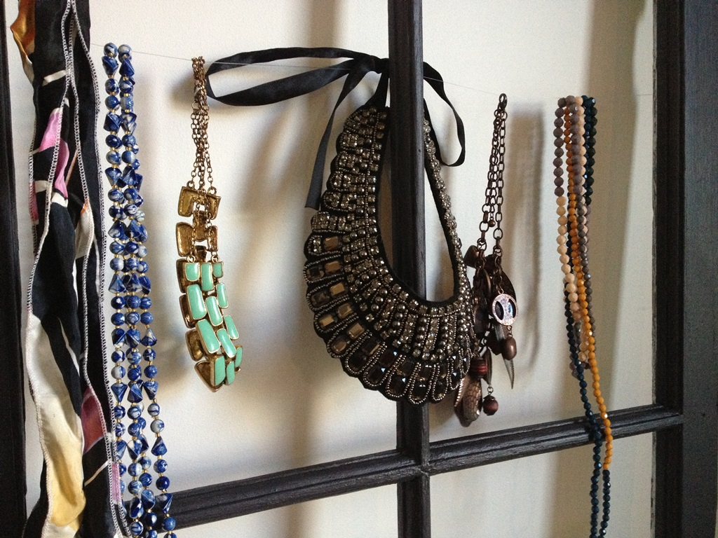 Jewellery display from old wooden frame