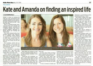 Dubbo Photo News article - Kate and Amanda on finding an inspired life