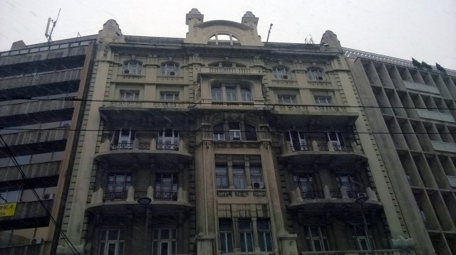 Massive building along one of the main boulevards in Belgrade