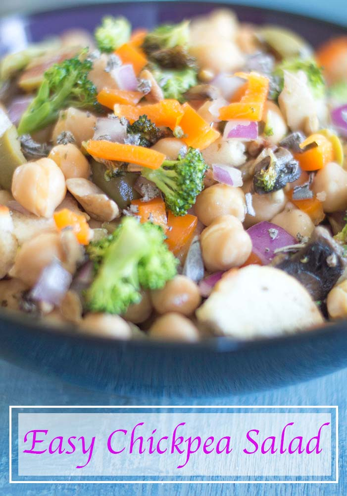 A quick and simple chickpea salad that is full of protein and delicious flavors. Takes only 20 minutes to make. Perfect vegan lunch time meal or a side dish for the whole family to enjoy.