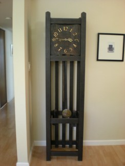 Mission style arts and crafts tall case clock