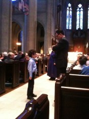 Re-enactment of Moses (little boy) confronting Pharaoh during Easter Vigil at Grace Cathedral