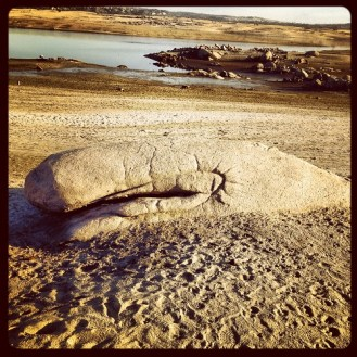 Granite rock Whale, enhanced, emerging from mud of low water level Folsom Lake