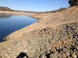 Steep, sandy, rocky slops of Folsom Lake - American River peninsula