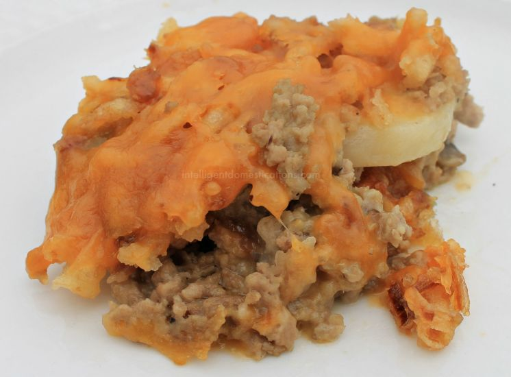 Only 7 ingredients in this Meat and Potato Casserole and you can easily personalize the recipe to your family's taste.