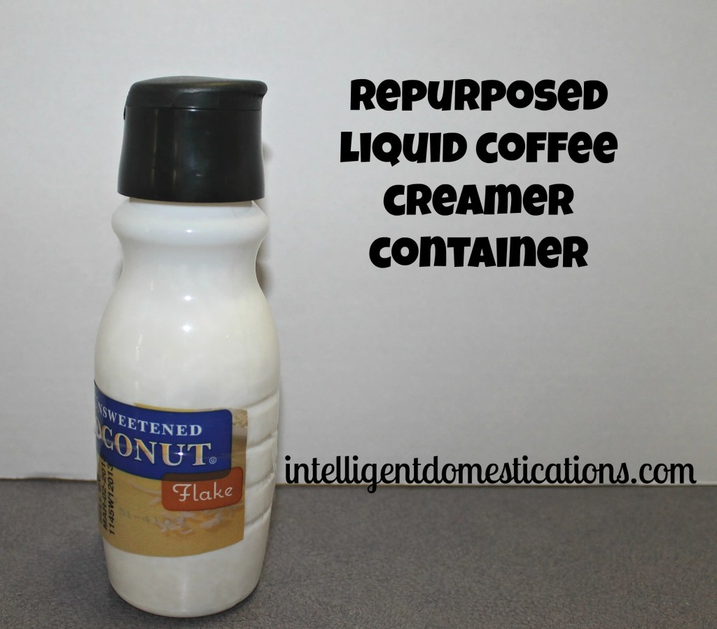 Repurposed coffee creamer container holding coconut by intelligentdomestications.com