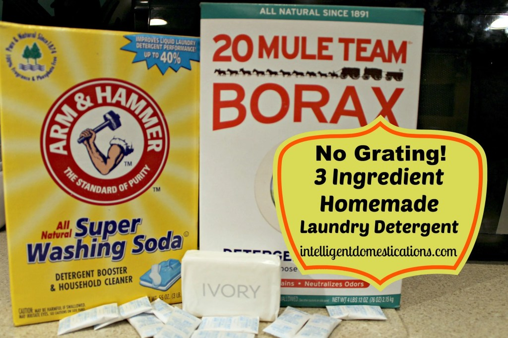 1.Homemade Laundry Detergent Ingredients. Washing Soda, Borax, Ivory Soap and Silia packets.intelligentdomestications.com