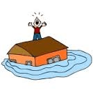 Man on roof surrounded by water