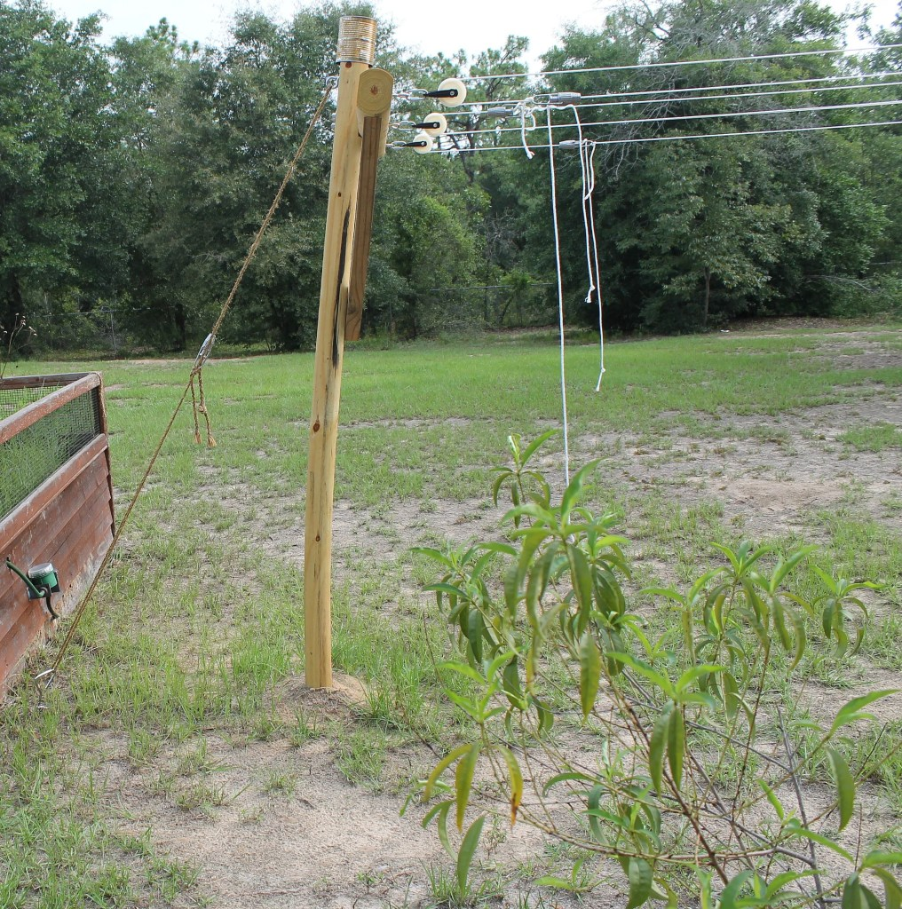 Clothesline anchored to help keep the post from leaning forward.intelligentdomestications.com
