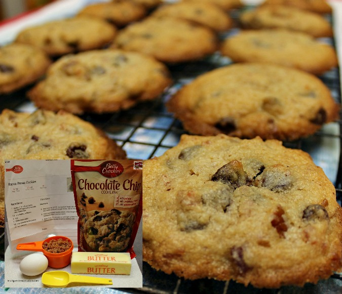 These Bacon Pecan Chocolate Chip Cookies begin with a mix and only have 6 ingredients. They are really easy to prepare and vanish quickly. Make two batches so you'll get some too. Perfect for office parties!