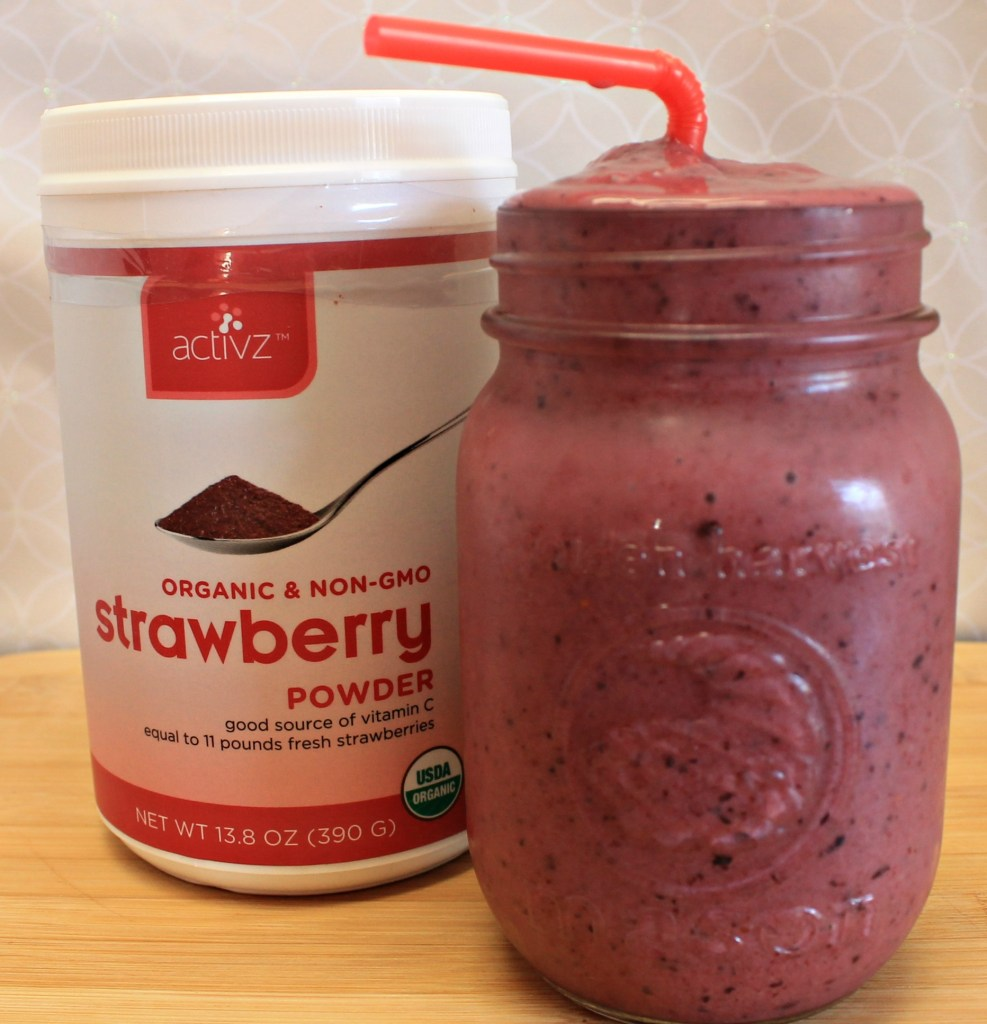 Cold and refreshing Strawberry smoothie made with Activz Strawberry powder added to my favorite fruits.intelligentdomestications.com