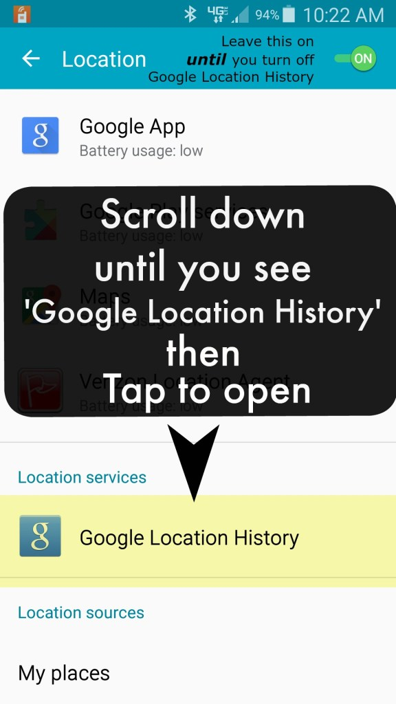 How to turn off Google location history on Android