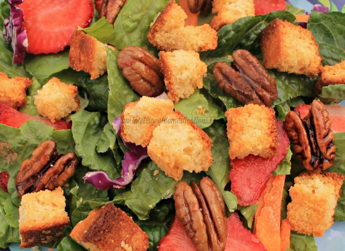 Cornbread Croutons are a perfect sour or salad topping.www.intelligentdomestications.com