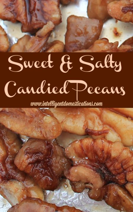 Sweet & Salty Candied Pecans Recipe at www.intelligentdomestications.com