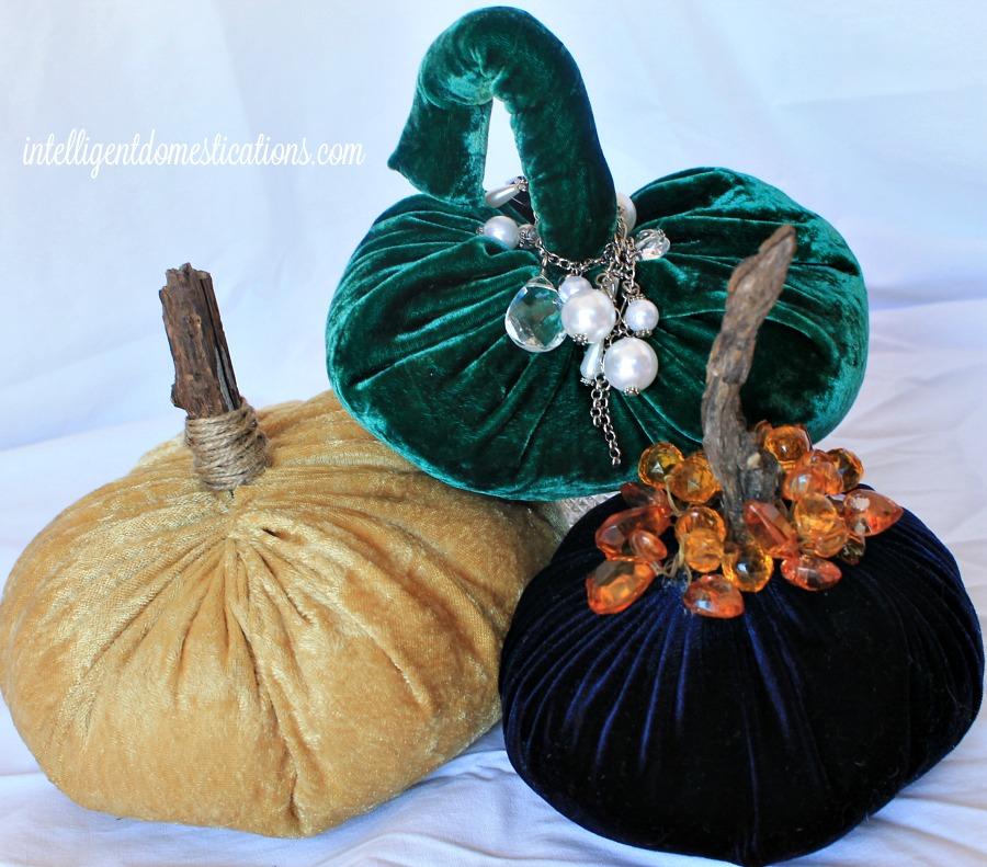 Gold.Green & Navy Blue Velvet Pumpkins 1.intelligentdomestications.com