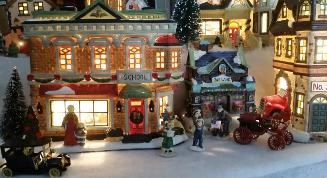Christmas Village School close up.intelligentdomestications.com