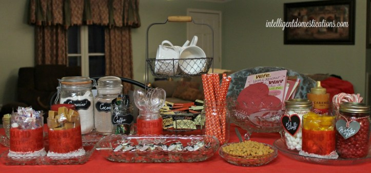 Hot Cocoa Bar with easy crafted Valentine Candy Jars.intelligentdomestications.com