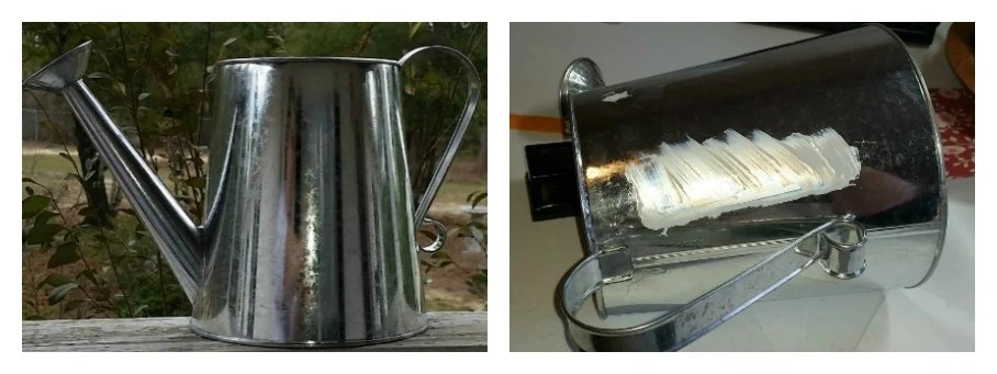 Begin with a galvanized metal watering can
