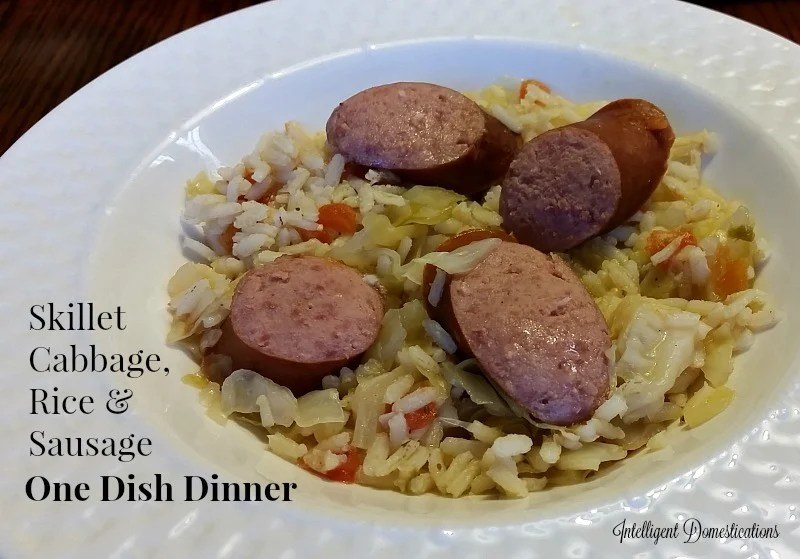 Skillet Cabbage, Rice and Sausage. One Dish Dinner Recipe at intelligentdomestications.com