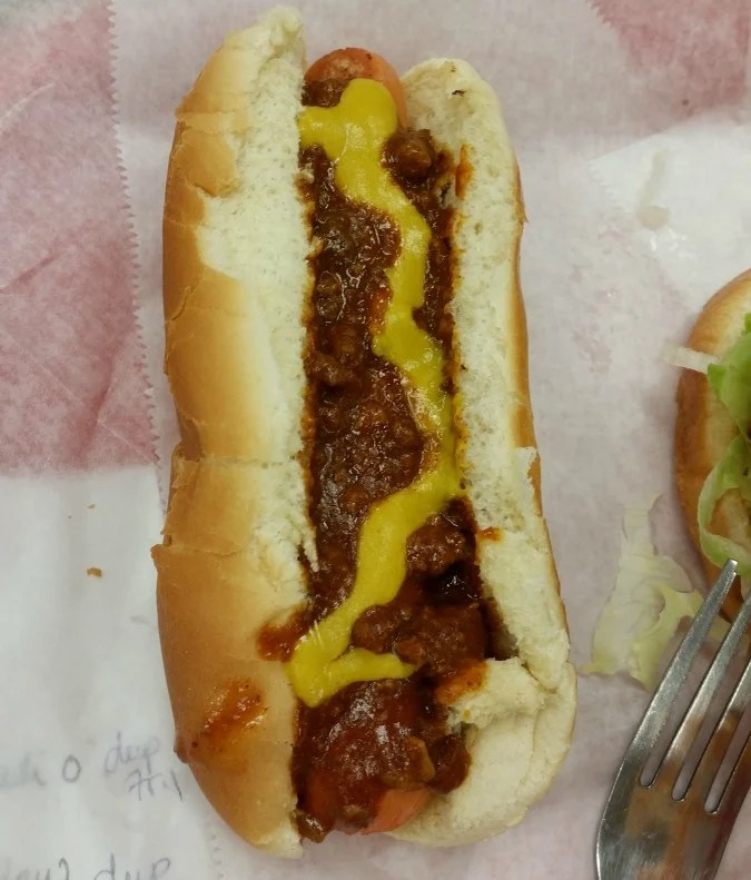 Frank Allen's Pigeon Forge, Tn. on the Hot Dog Tour. Chili dog.photo by intelligentdomestications.com