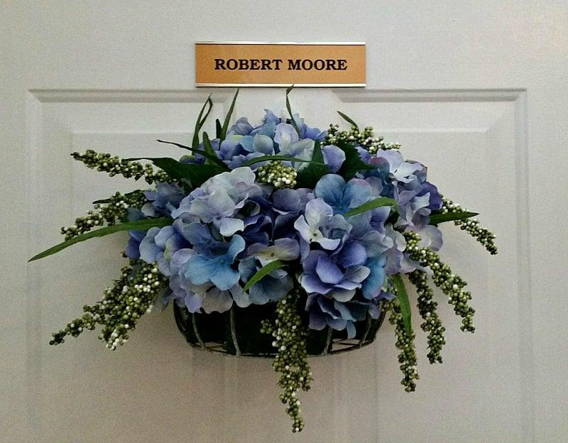 Hydrangea Door Decor for my sweet and precious Mr. Moore