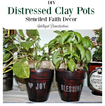 DIY your own clay pots and then take it a step further with stencils