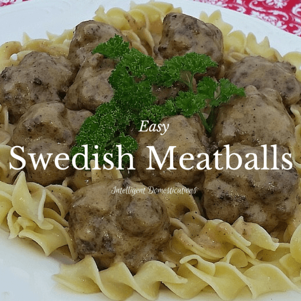 Easy Swedish Meatballs Recipe which is freezer friendly and can be made ahead. Eight ingredients. You can freeze the meatballs and use them in any recipe.
