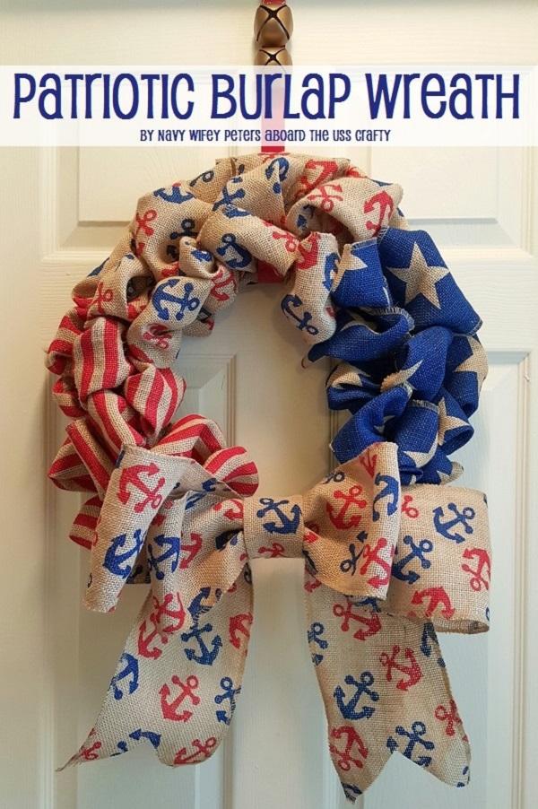 Patriotic Burlap Wreath.USS Crafty.com