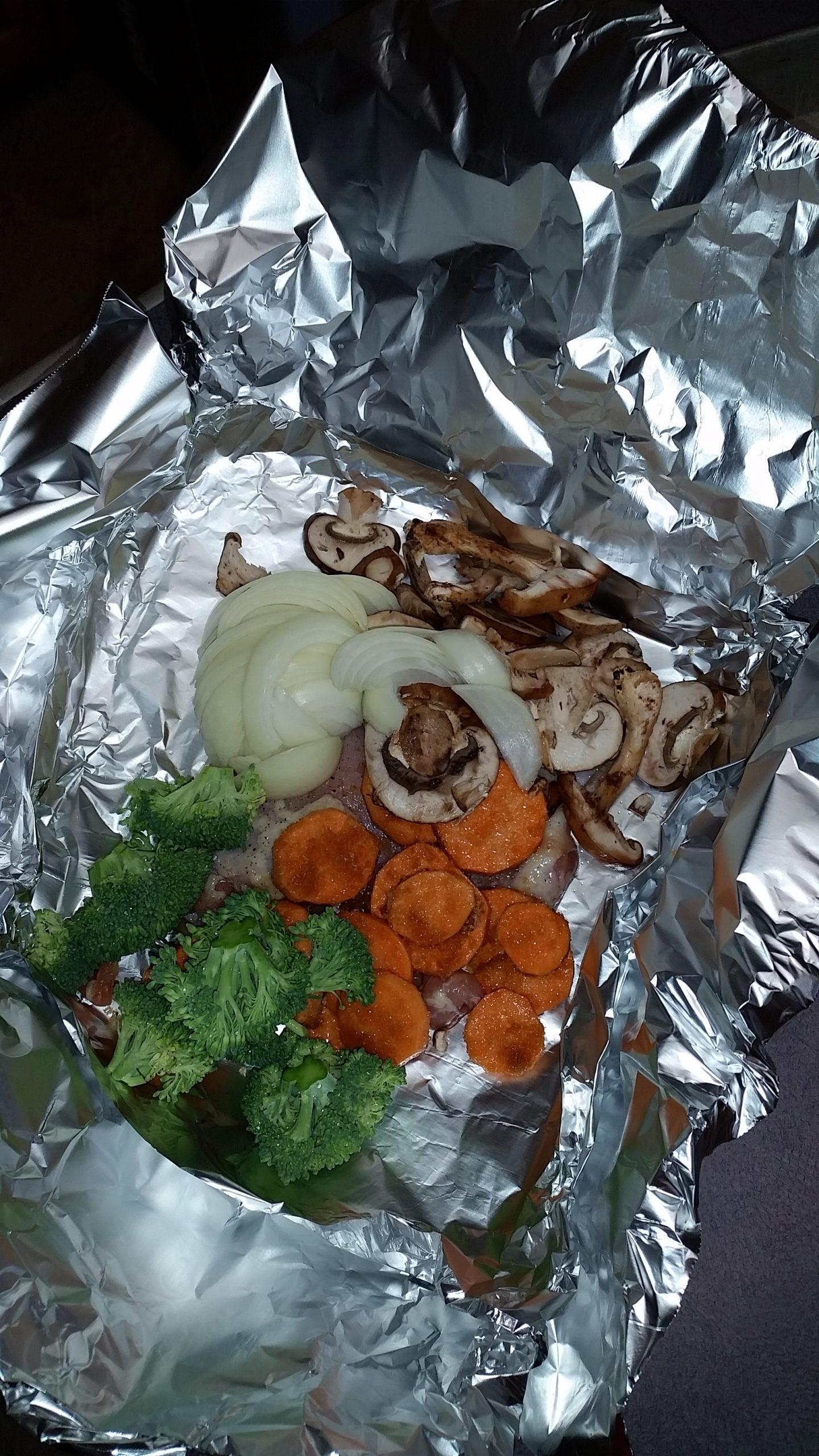 Broccoli Yams & Chicken thigh foil packet dinner