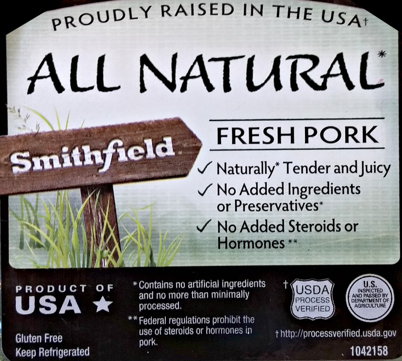 Smithfield All Natural Fresh Pork lable. Photo by Shirley Wood