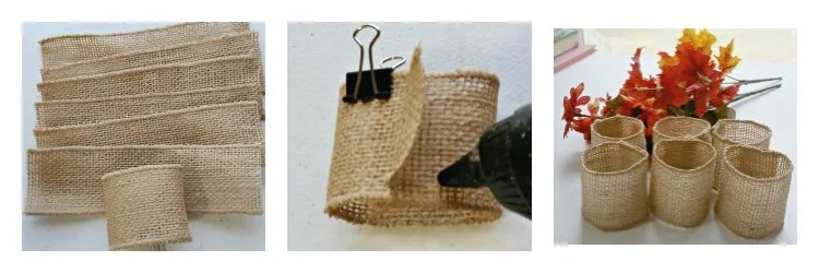Cut your burlap ribbon to the desire size then glue the ends together with hot glue
